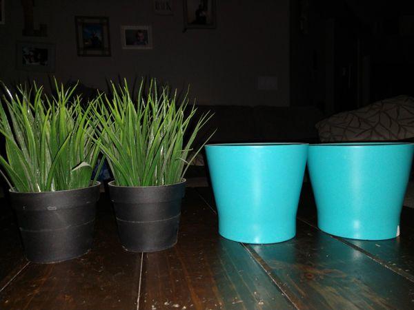 Ikea beach fake plants and pots