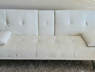 CONVERTIBLE SOFA WHITE LEATHER for Sale in Silver Spring,  MD