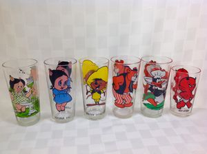 6 Looney Tunes vintage glasses from 70's Pepsi Collection, bright colors like new, Hot Stuff, Daffy, Taz, speedy, porky pig for Sale in Cypress, CA