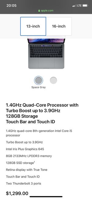 Latest 2019 Macbook Pro 13.3 inch 128GB for Sale in Federal Way, WA