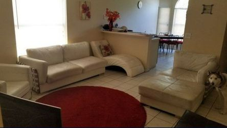 4 pc white leather sofa set with chaise lounge for Sale in Orlando,  FL