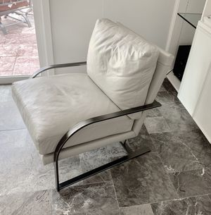 Modern high fashion white Italian leather chair for Sale in Houston, TX