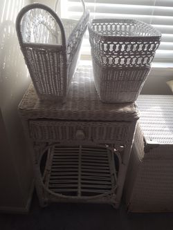 Wicker Night Stand or Magazine Rack or Garbage Can for Sale in Franklin Township,  NJ