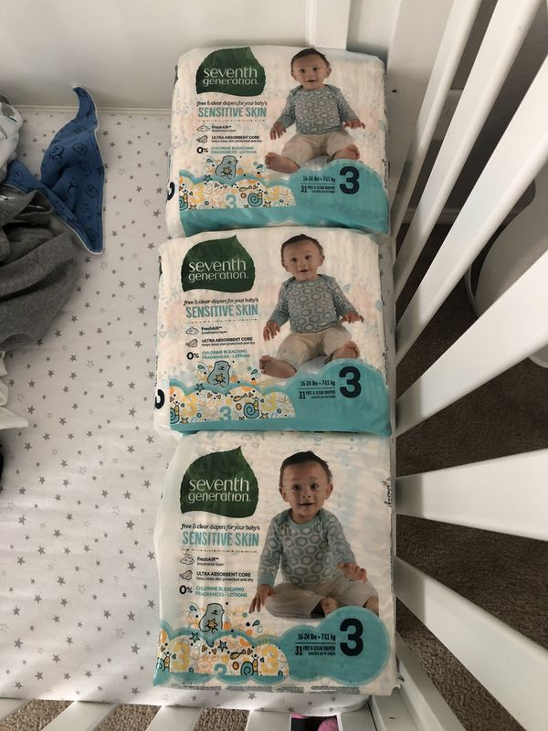 Seventh Generation Size 3 Diapers (93 Total)
