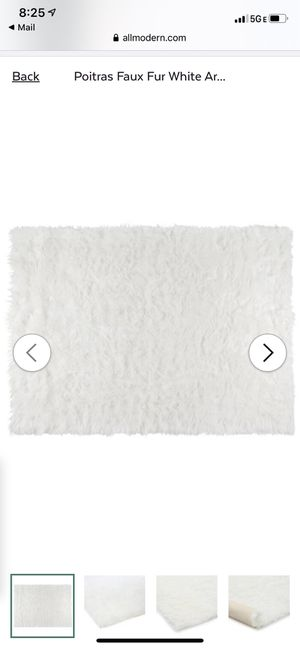 "New 4'7"" x 6'7"" faux fur white area rug (paid $144) for Sale in Portland, OR"
