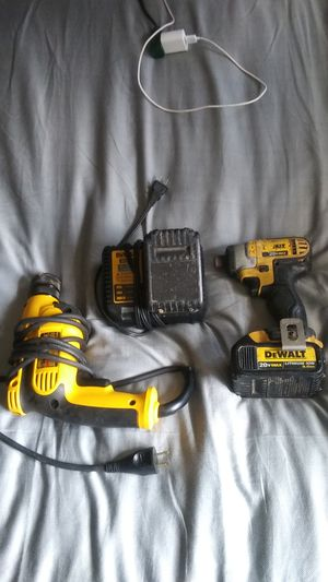 Impact drill dewalt 2 batteries and charger plus electric drill dewalt all for 80 dollars for Sale in Eclectic, AL