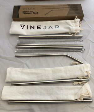 Straw Set, Stainless Steel w/cleaning brushes for Sale in San Diego, CA