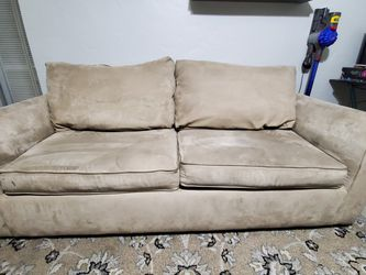 Beige Faux Suede Sofa (Pull Out Bed) And Recliner - Good Condition for Sale in Miami,  FL