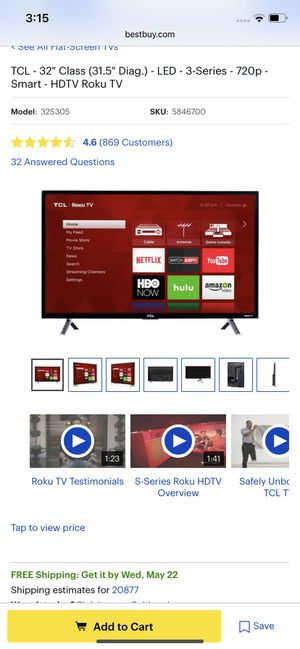 "32"" in TCL roku Smart Tv for Sale in North Potomac, MD"
