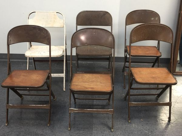 Awe Inspiring 6 Vintage Metal Folding Chairs 4 Are Clarin W Wooden Seats Bralicious Painted Fabric Chair Ideas Braliciousco
