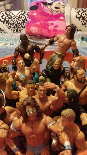 23 wrestlers movable arms legs heads feet hands for Sale in Sarasota, FL