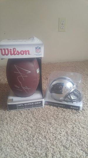 NFL Authentic Can Newton Signed Football and mini helmet for Sale in Lynchburg, VA