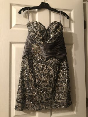 Silver Sequin Glitter Rhinestone Party Cocktail Prom Dress - Size Large for Sale in Decatur, GA