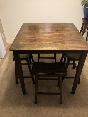 Solid Wood Pub Table with Four Stools for Sale in Olympia, WA