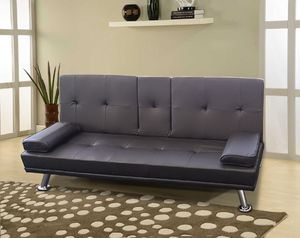 Brand new leather black sofa bed futon sleeper for Sale in San Diego, CA