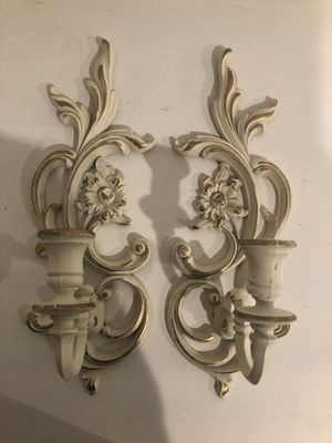 Vintage syroco wood sconces candle holders wall decor shabby chic French provincial for Sale in Denver, CO
