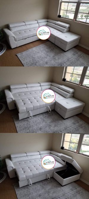 New White Bonded Leather Sofa Sectional Sleeper w/ Pull out Bed - Financing Available for Sale in Riverside, CA