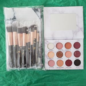 10pcs makeup brush set with cosmetic bag and 12colors eyeshadow for Sale in Los Angeles, CA