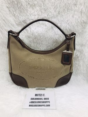 PRADA LOGO JACQUARD CANVAS LEATHER HOBO BAG for Sale in Columbus, OH