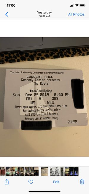 The Roots - The Kennedy Center - 29 December 2019 for Sale in Washington, DC
