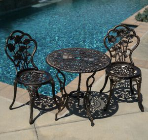 SHIPPING ONLY Antique Bronze Cast Aluminum 3 Piece Patio Furniture Set w/Umbrella Sun Shade Holder for Sale in Annapolis, MD