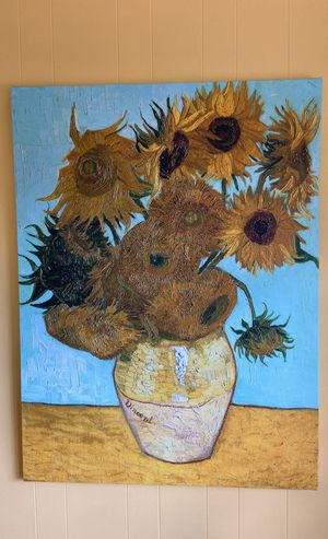 3 foot x 4 foot Vincent Van Gogh stretch canvas sunflowers print for Sale in Tampa, FL