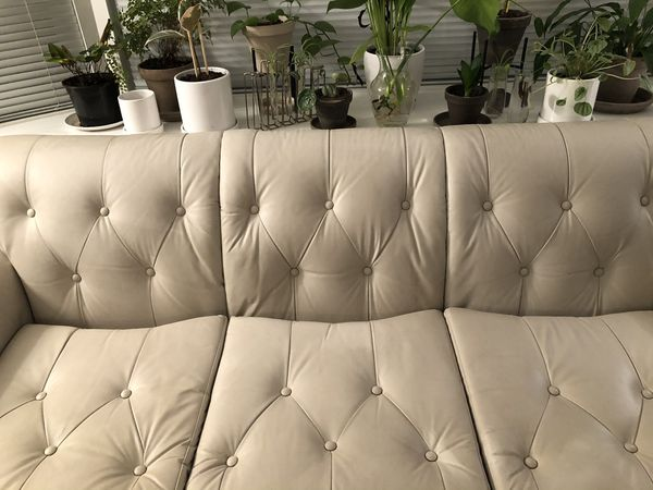 White Leather Tufted Couch