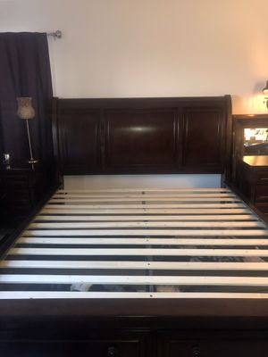 Porter Bed Frame with drawers. Also selling complete set bed, 2 night stands, tall dresser, long dresser. Selling bed for $250 or complete set for $ for Sale in Laguna Beach, CA