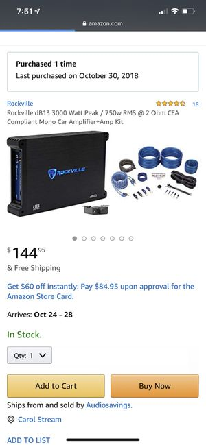 Rockville Audio Amplifier 1500 watt for Sale in Bloomingdale, IL