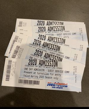3 wet and wild tickets left $10 each for Sale in Las Vegas, NV