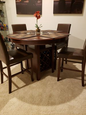 Wine Rack Dining Room Table with Leather Chairs for Sale in Santa Ana, CA