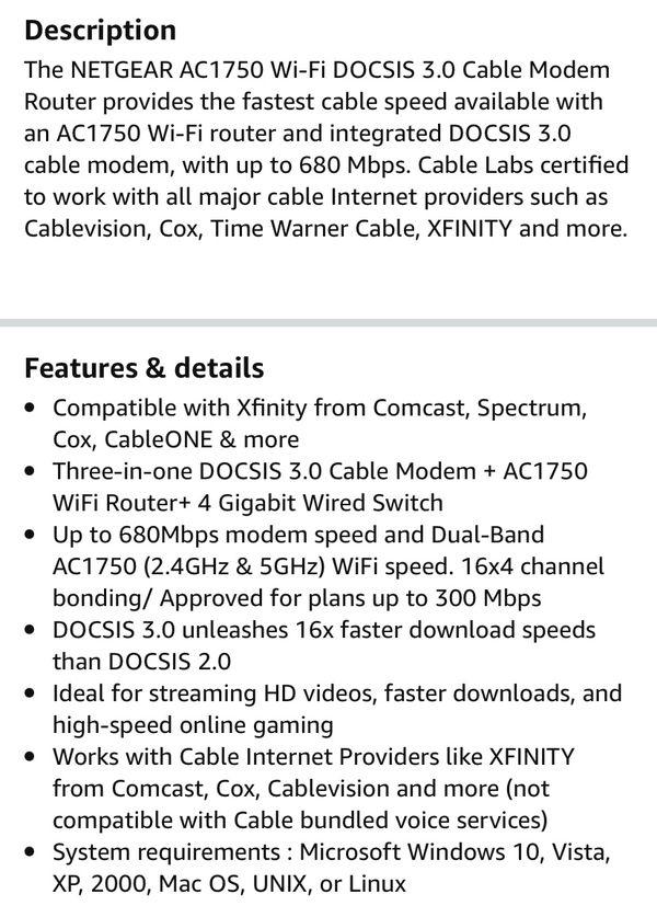 NETGEAR Dual-Band Modem Router Combo AC1750