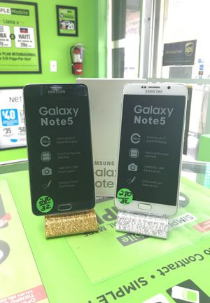 Samsung galaxy note 5 white and blue black unlocked 32GB for Sale in Hialeah, FL