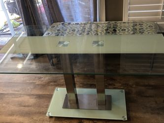 Glass dining table with cushioned bench for Sale in Huntington Beach,  CA