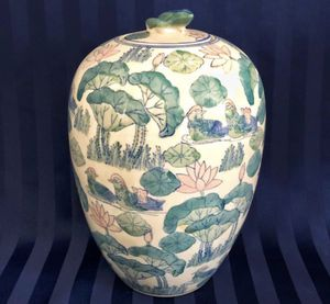 Glazed Ceramic Decorative Lidded Chinese Pot Container for Sale in Crofton, MD