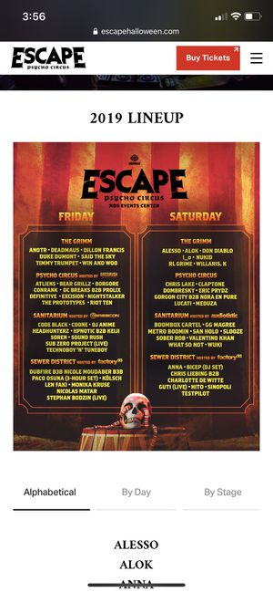 Escape 2 day ticket for Sale in Anaheim, CA