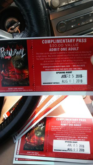 Paranormal circus tickets for Sale in Green Bay, WI