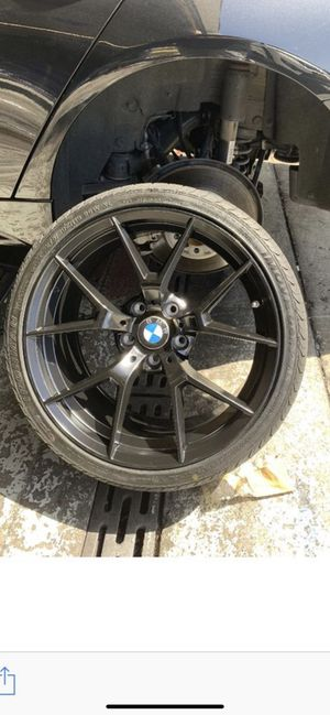 """Bmw 325i 19"""" new staggered blk rims tires set for Sale in Hayward, CA"""