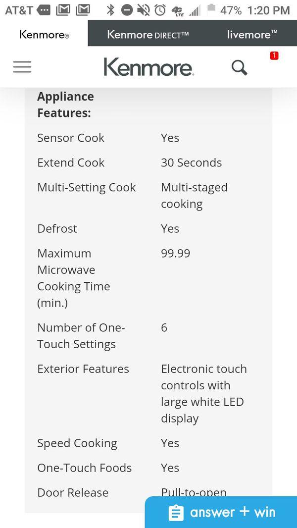 Like New unused Kenmore elite pro microwave oven