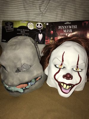 Halloween masks lot Nightmare before Christmas and Pennywise clown for Sale in Littleton, MA