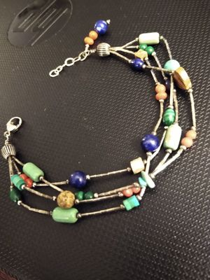 1970's Multi-strand turquoise and other natural stones, liquid silver sterling bracelet for Sale in Altamonte Springs, FL