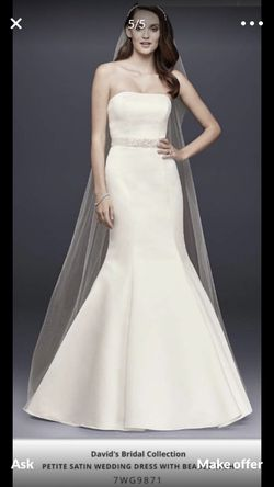 David's Bridal Wedding Dress with Slip, Corset, Belt and Veil for Sale in Houston,  TX