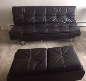 Black Leather Futon Sofa Bed with Matching Ottoman!! Brand New Free Delivery for Sale in Chicago, IL