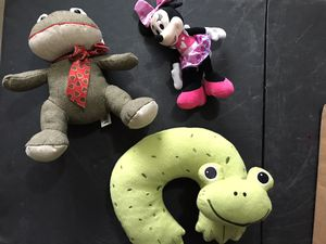 2 Plush Toys & 1 neck frog travel pillow for Sale in Lewisville, TX