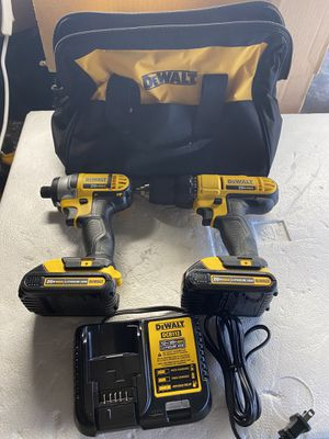DEWALT 20-Volt MAX Lithium-Ion Cordless Drill/Driver and Impact Combo Kit (2-Tool) with (2) Batteries 1.3Ah, Charger and Bag for Sale in Houston, TX
