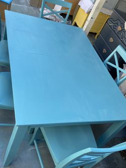 Solid Wood Teal Dining Table With 5 Chairs for Sale in Santa Fe Springs,  CA