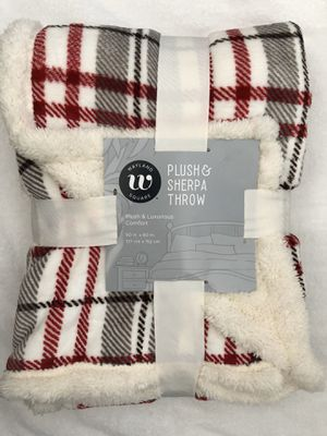 """New Wayland Square Plush & Sherpa Throw Blanket 50""""X60"""" (pick up only) for Sale in Alexandria, VA"""