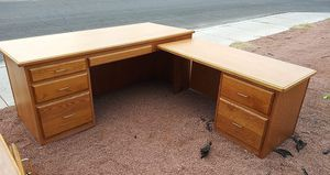 Great Solid Wood L Shaped Desk & Credenza 🧨Free Delivery 🧨🚚 for Sale in Las Vegas, NV