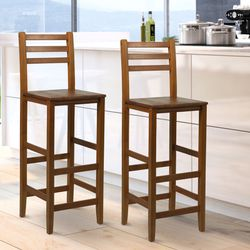 """Durable Classic 2pc 43""""H Counter Height Chair Patio Bar Stool Armless Seat Acacia Wood Indoor for Sale in Keizer,  OR"""