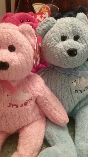 Beanie babies it's a boy and it's a girl mistletoe ,grace bunny,and eggs bear and two dogs for Sale in Newport, TN